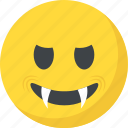 devil grinning, emoji, evil grin, evil smiley, nerd face icon
