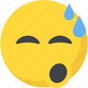 cold sweat, emoji, exhausted, relieved emoji, tired icon