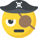 emoticon, eye patch, laughing, pirate emoji, smiley icon