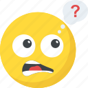 confused, emoji, pondering, question marks, smiley icon