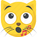 cat singing, cat smiley, music emoji, music note, whistle icon