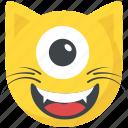 crazy face, cyclops emoji, emoticon, laughing, one eye emoji icon