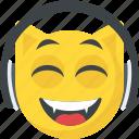 cheerful, dj emoticon, earphones, headphones emoji, smiling icon