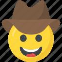 cowboy hat smiley, emoji, emoticon, hat, laughing icon