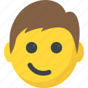 boy emoji, emoticons, smiley, smirking face, surprised icon