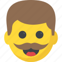 character, emoticon, hipster, mustache emoji, smiley icon