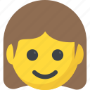 emoticon, girl emoji, girl smiling, joyful, smiling icon