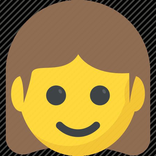 emoticon, girl emoji, girl smiling, joyful, smiling icon
