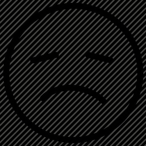 frawn, sad, sadness, sick, smiley icon