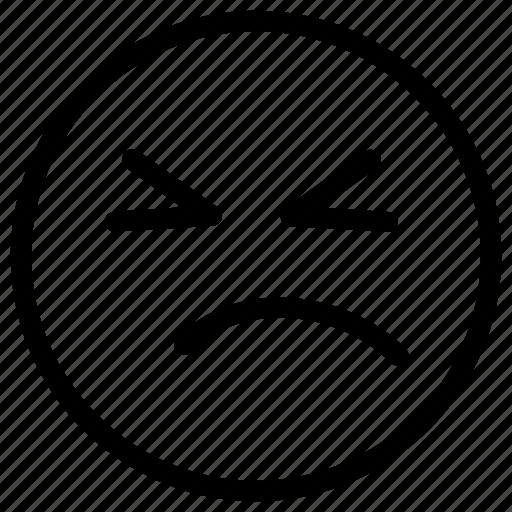 angry, emoji, face, sad, unhappy icon