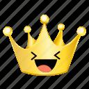 crown, emoji, happy icon