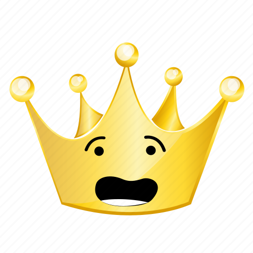 afraid, crown, emoji icon