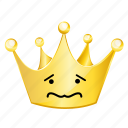 crown, emoji, sad icon