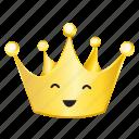 crown, emoji, smile icon
