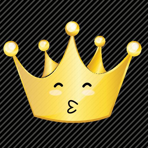 crown, emoji, kiss icon