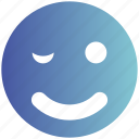 avatar, blink, emoji, emoticon, face, smiley, wink icon