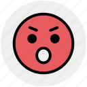 angry, angry face, emotion, expression, eyebrow smiley, smiley, stare emoticon icon