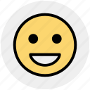 emoticon, emotion, expression, face, happy, laugh, smile icon