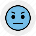 angry, angry smiley, emoticons, emotion, expression, face smiley, stare emoticon icon