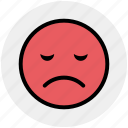 bemused face, emoticons, emotion, expression, nodding, sad face, smiley icon