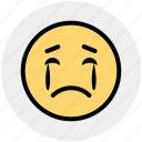 angry, crying face, emoticons, expression, sad, smiley, weeping icon