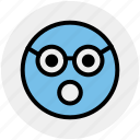 emoji, emoticons, expression, face, glasses, shocked, smiley icon