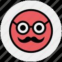 emoji, emoticons, face, glasses, man, old, smiley icon