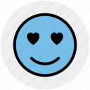 adoring, emoticons, heart eye, in love, love, loving, romance icon