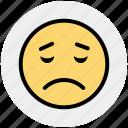 bemused face, emoticons, eyebrows, furrow, sad, smiley, upset icon
