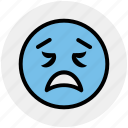 emoticons, emotion, face smiley, lour, sad, smiley, worried icon