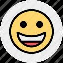 emoticon, emotion, face, laugh, smile, expression, happy