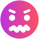 angry, gaze emoticon, loudly, sad, serious icon