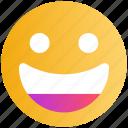 emoticon, emotion, expression, face, happy, laugh, smiley