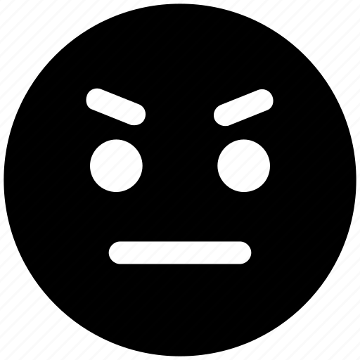 angry, angry smiley, emoticons, emotion, expression, face smiley, nodding, stare emoticon icon