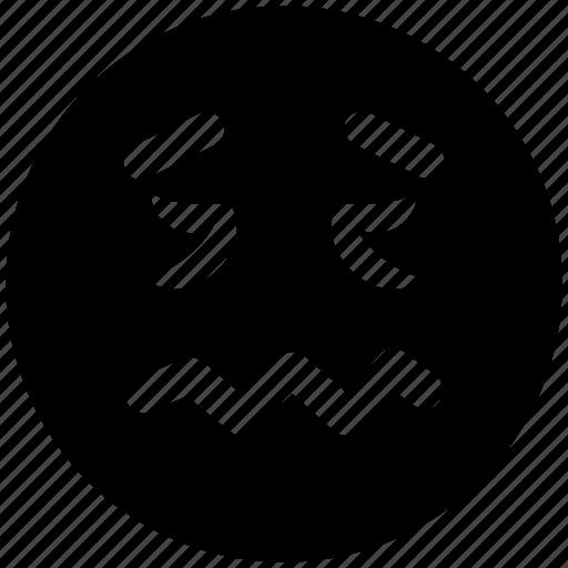 emoticons, emotion, expression, face smiley, lip seal, rage, sad, smiley icon