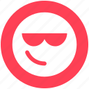 attitude, emoji, expression, face, facial, glasses, smiley icon