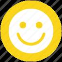 cheerful, emoticon, face, happy, person, smile, smiley
