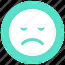 bemused face, emoticons, emotion, expression, nodding, sad face, smiley icon