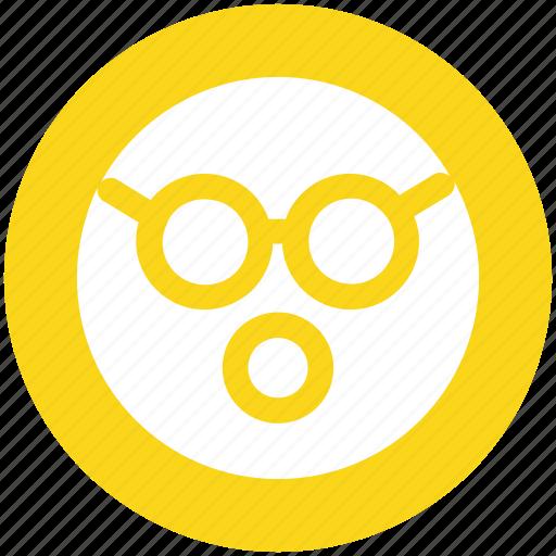 emoji, emoticons, expression, face, glasses, shocked, smiley icon