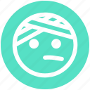 emoji, emoticons, expression, face, monochrome, pain, smiley icon