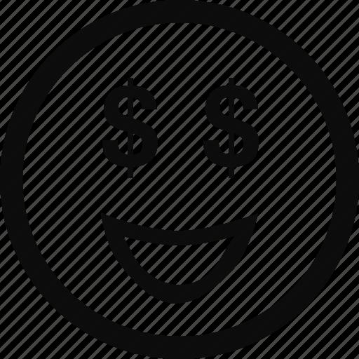 emoji, emoticon, face, greedy, money icon