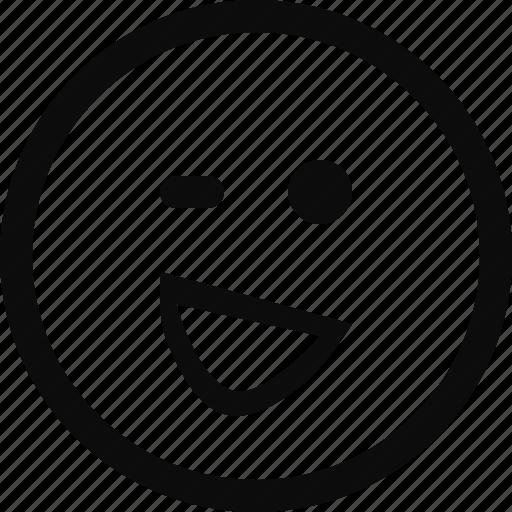 emoji, emoticon, face, wink, winky icon