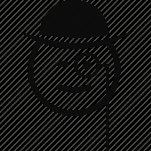 emoji, emoticon, face, monocle icon