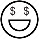 dollar, dollar on face, emoticons, face, happy, money, smile, smiley icon