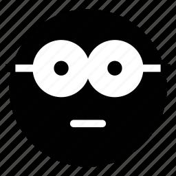 emoticon, emotion, expression, geek, nerd, nerdy glasses face, stare emoticon icon