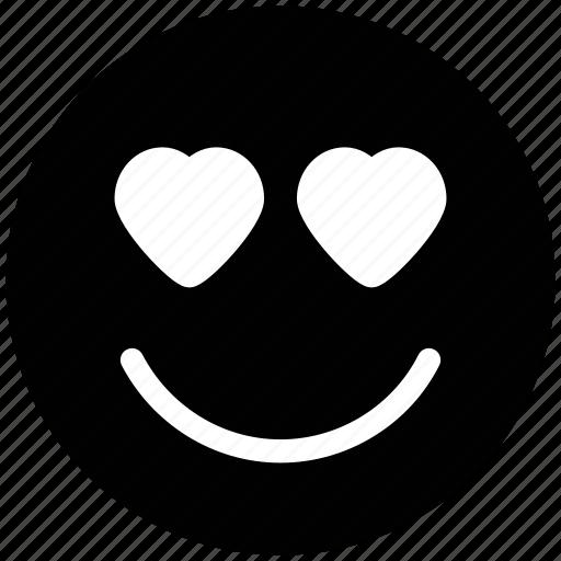 adoring, emoticons, hear eye, heart, in love, love, loving, romance, smiley icon