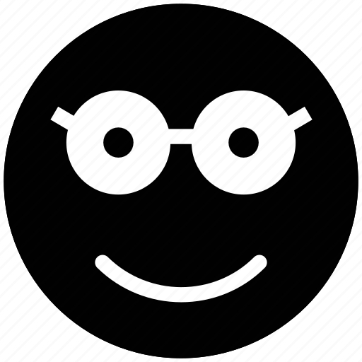 emotion, expression, geek, glasses face, nerd, nerdy, smiley, stare emoticon icon