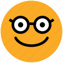 emoticon, geek, glasses face, nerd, nerdy face emotion, smiley, stare emoticon