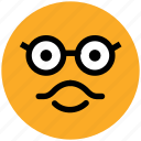 emoticons, nerdy big grin, smile, smiley, stare emoticon, sunglass smiley icon