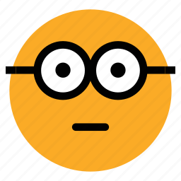 emoticon, emotion, expression, geek, nerd, nerdy glasses face, stare emoticon icon